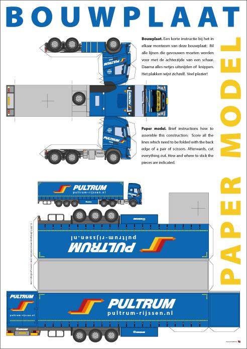 Yorlogo 174 Bouwplaat Truck Met Oplegger Op A3 Formaat